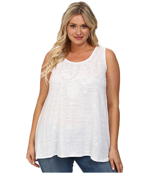 MICHAEL Michael Kors - Plus Size Embroidered Elliptical Tank Top (White) Women's Sleeveless