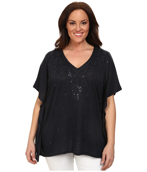 MICHAEL Michael Kors - Plus Size Embroidered Kaftan Top (New Navy) Women