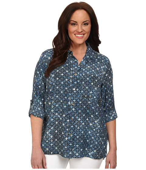 MICHAEL Michael Kors - Plus Size Munabao Hi-Lo Button Down Top (Heritage Blue) Women