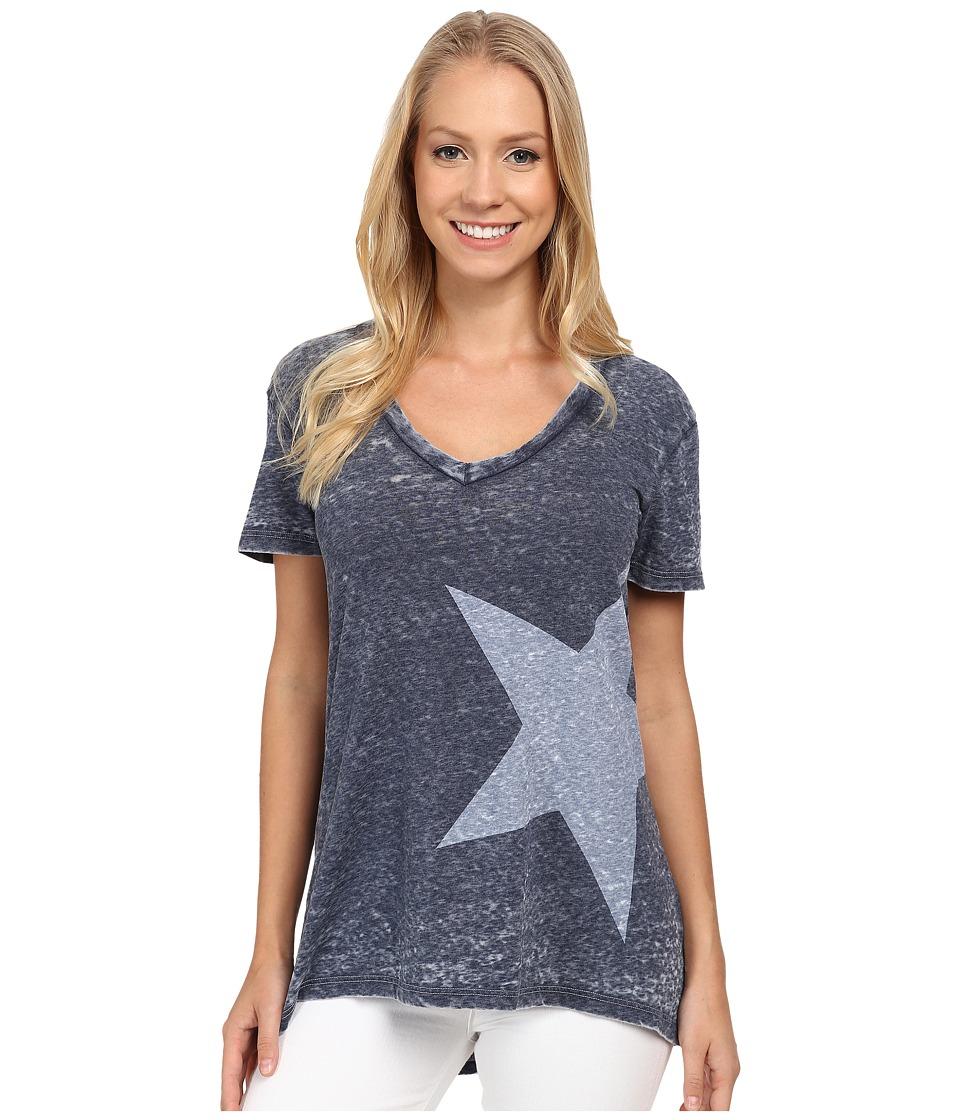 Allen Allen - Short Sleeve High-Low White Star T-Shirt (Lapis) Women