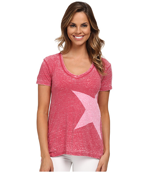 Allen Allen - Short Sleeve High-Low White Star T-Shirt (Red) Women's T Shirt