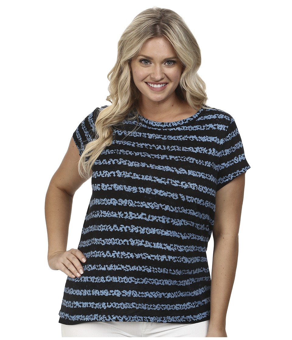 MICHAEL Michael Kors - Plus Size Dala Print Cap Sleeve Top (Heritage Blue/New Navy) Women's Short Sleeve Pullover