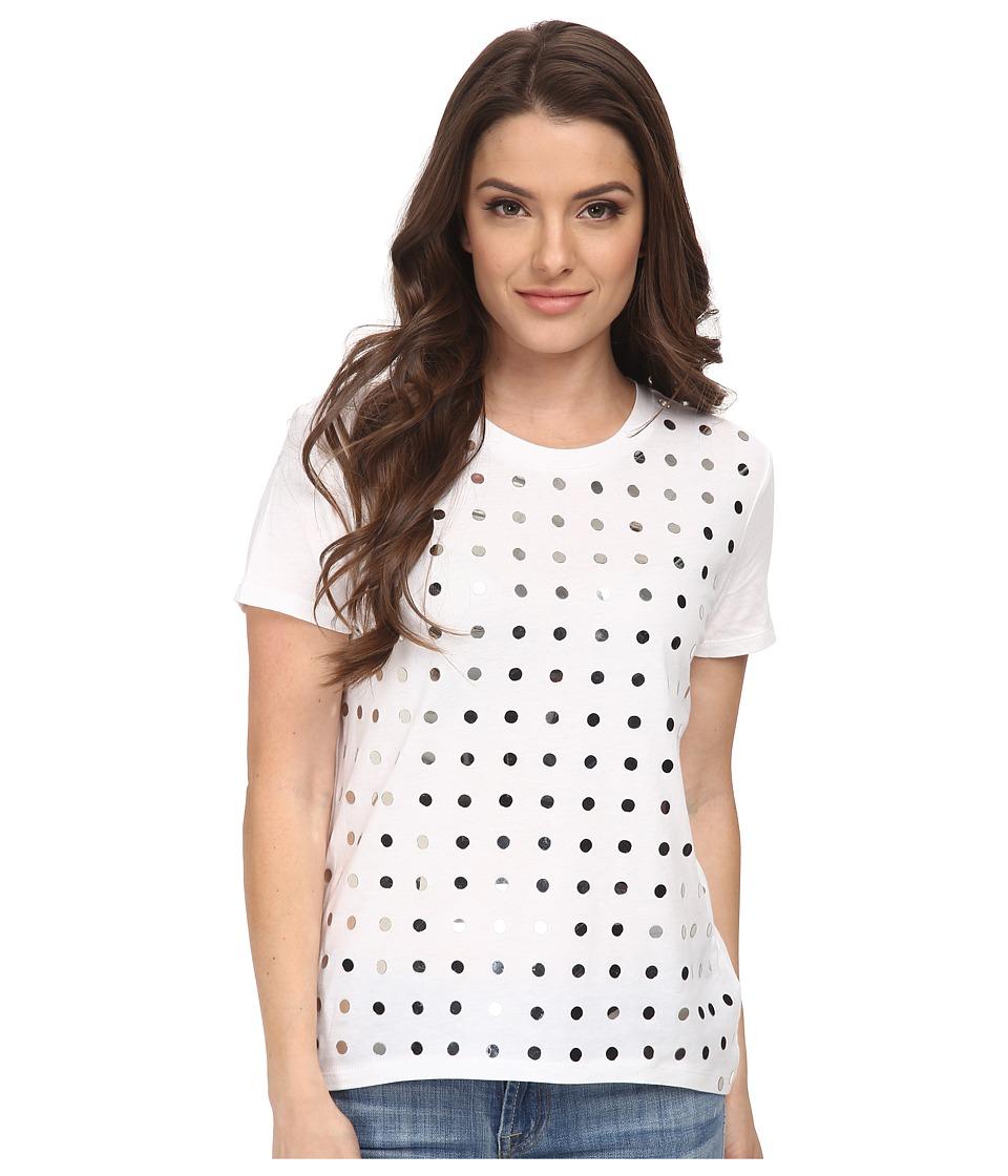 MICHAEL Michael Kors - Petite Mirage Studded Eliptical Hem Tee (White/Silver) Women's T Shirt