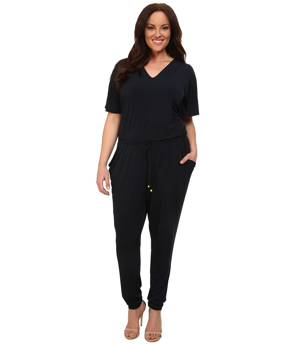 MICHAEL Michael Kors - Plus Size V-Neck Flutter Sleeve Jumpsuit (New Navy) Women's Jumpsuit & Rompers One Piece