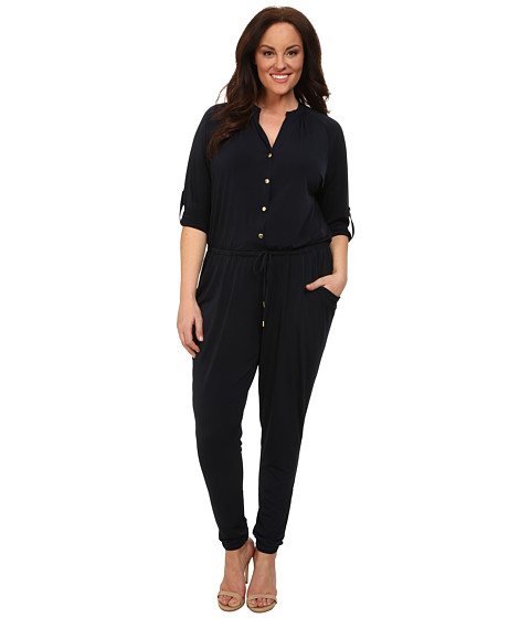 MICHAEL Michael Kors - Plus Size Roll Sleeve Raglan Jumpsuit (New Navy) Women's Jumpsuit & Rompers One Piece