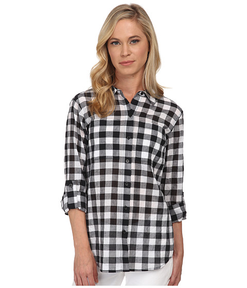 MICHAEL Michael Kors - Petite Water Front Plaid Button Down Top (Black) Women