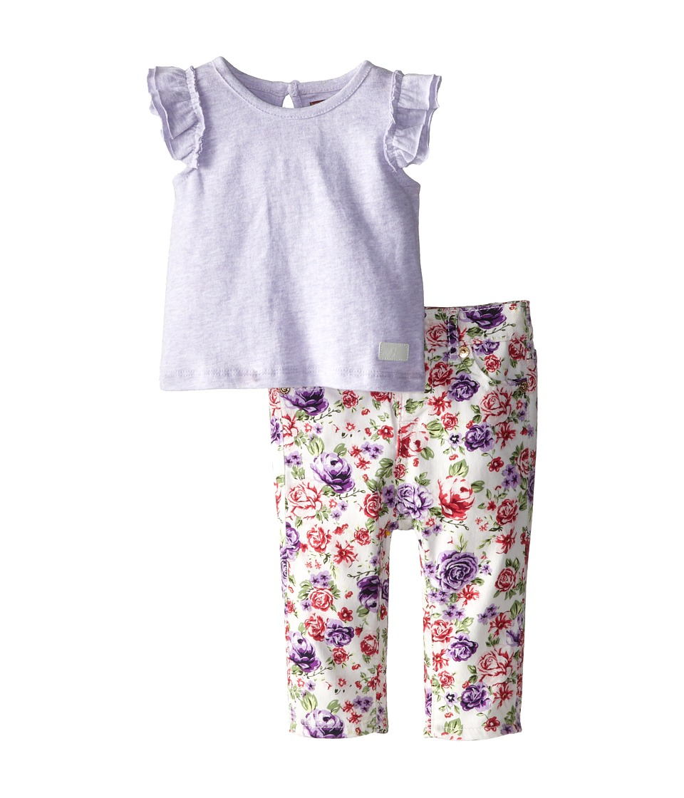 7 For All Mankind Kids - Ruffle Sleeve T-Shirt and Skinny Shorts (Infant) (White Floral) Girl