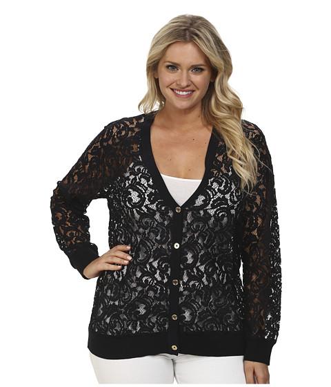 MICHAEL Michael Kors - Plus Size Lace Long Cardigan (New Navy) Women's Sweater
