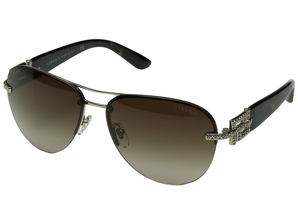 Versace - VE2159B (Pale Gold/Brown Gradient) Fashion Sunglasses