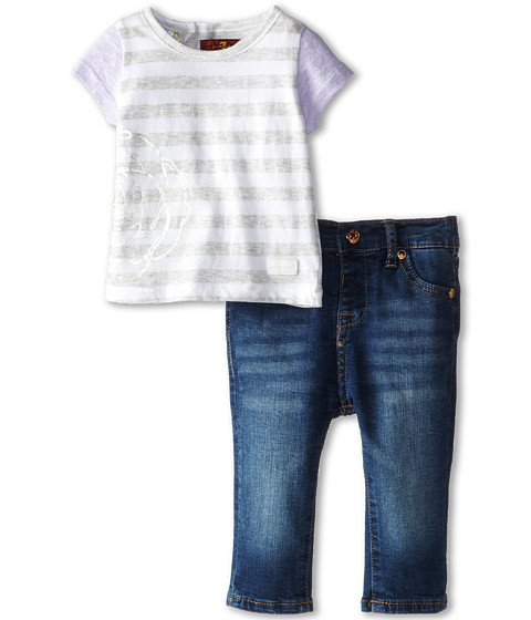 7 For All Mankind Kids - Floral Ruffle Tunic and Skinny Jeans (Infant) (Medium Indigo) Girl