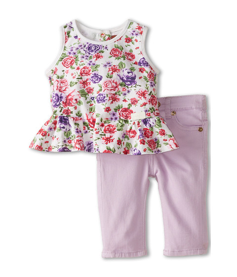 7 For All Mankind Kids - Floral Ruffle Tunic and Skinny Shorts (Infant) (Lilac) Girl's Active Sets