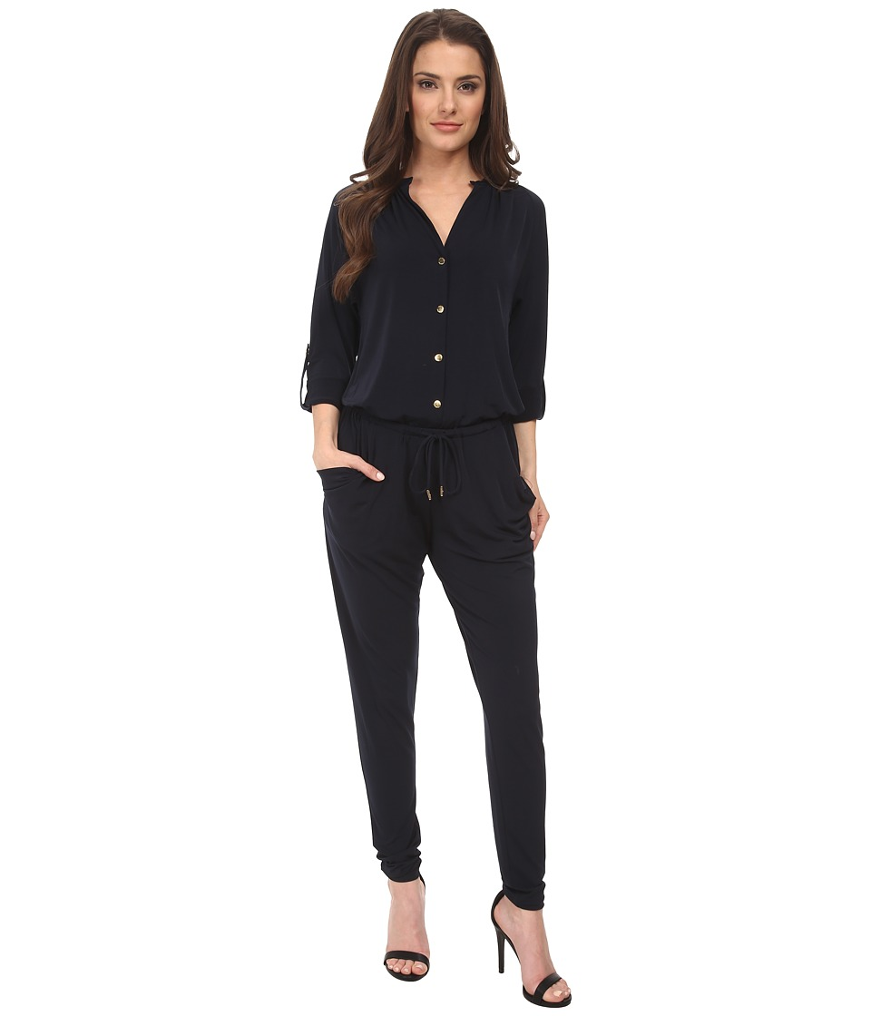 MICHAEL Michael Kors - Petite Roll Sleeve Raglan Jumpsuit (New Navy) Women