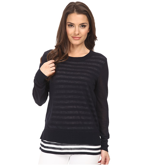 MICHAEL Michael Kors - Petite Shirred Double Layer Starp Sweater (New Navy) Women