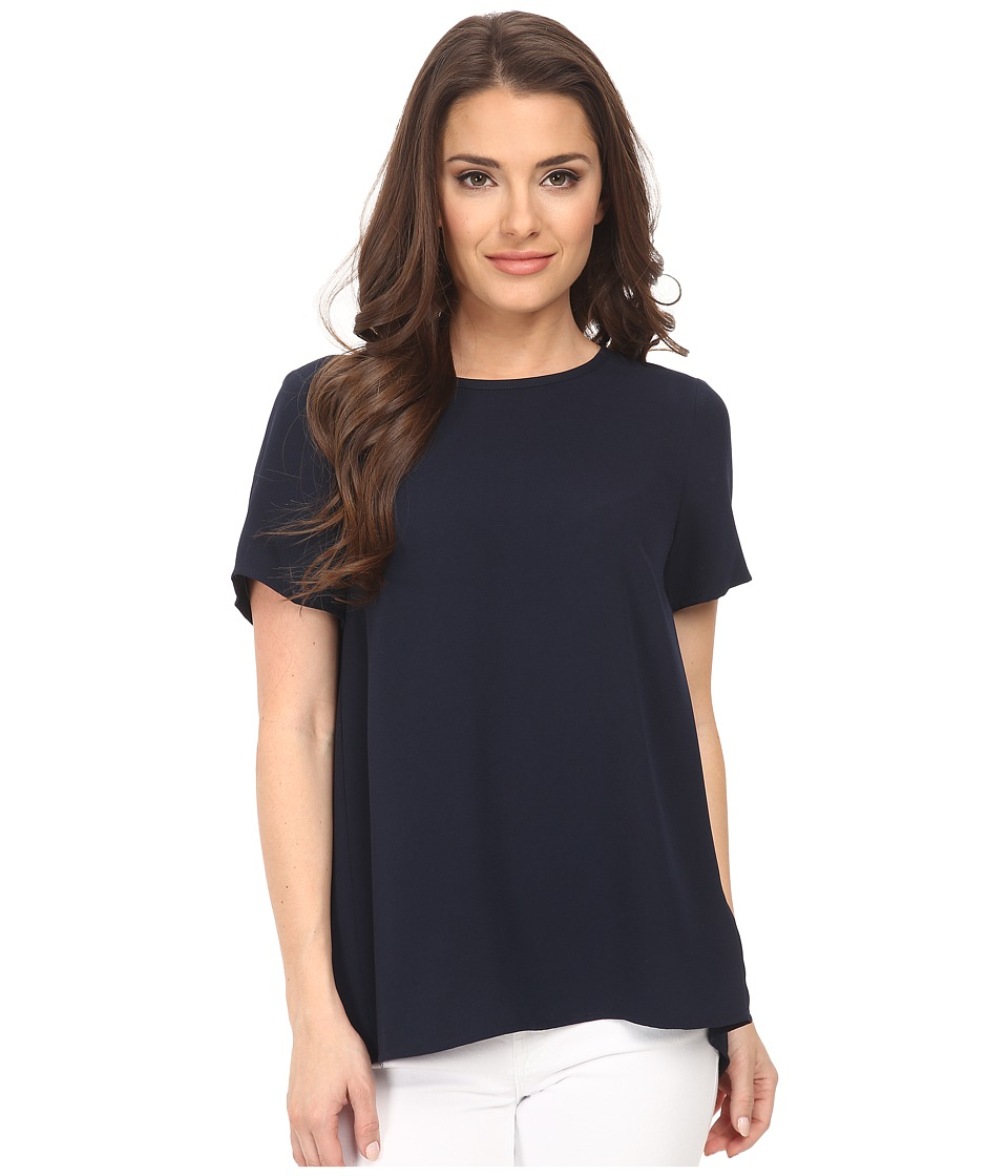 MICHAEL Michael Kors - Petite Pleat Back T-Shirt (New Navy) Women's T Shirt
