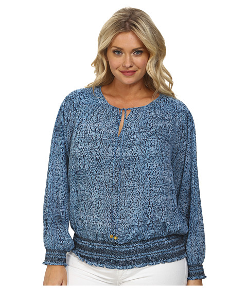 MICHAEL Michael Kors - Plus Size Sunari Smocked Top (Heritage Blue) Women