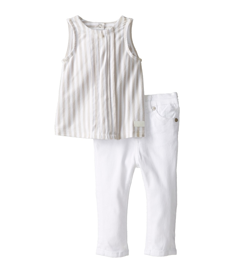7 For All Mankind Kids - Skinny Jeans and Tuxedo Tunic (Infant) (White) Girl's Active Sets