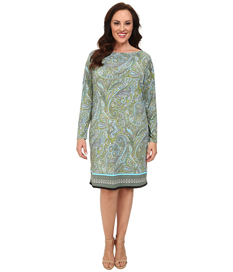 MICHAEL Michael Kors - Plus Size Ashby Long Sleeve Boat Neck Border Dress (Pear/Peacock) Women