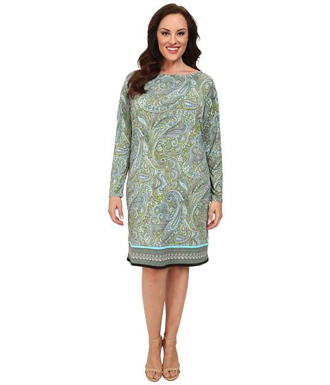 MICHAEL Michael Kors - Plus Size Ashby Long Sleeve Boat Neck Border Dress (Pear/Peacock) Women