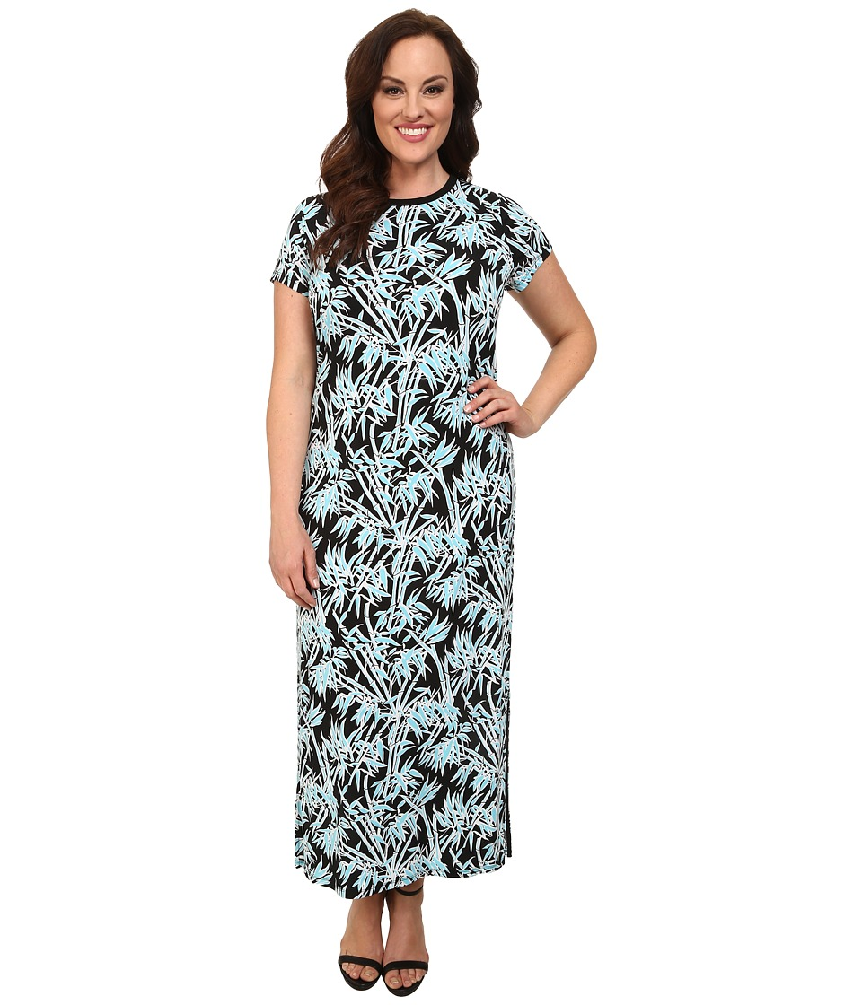 MICHAEL Michael Kors - Plus Size Bamboo Crew Neck Maxi Dress (Peacock) Women's Dress