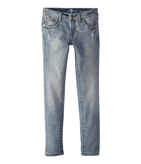 7 For All Mankind Kids - Faded Blue Skinny Jeans in Slim Illusion (Big Kids) (Slim Illusion) Girl