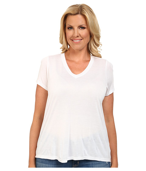 MICHAEL Michael Kors - Plus Size Short Sleeve Hi-Low Hem Tee (White) Women