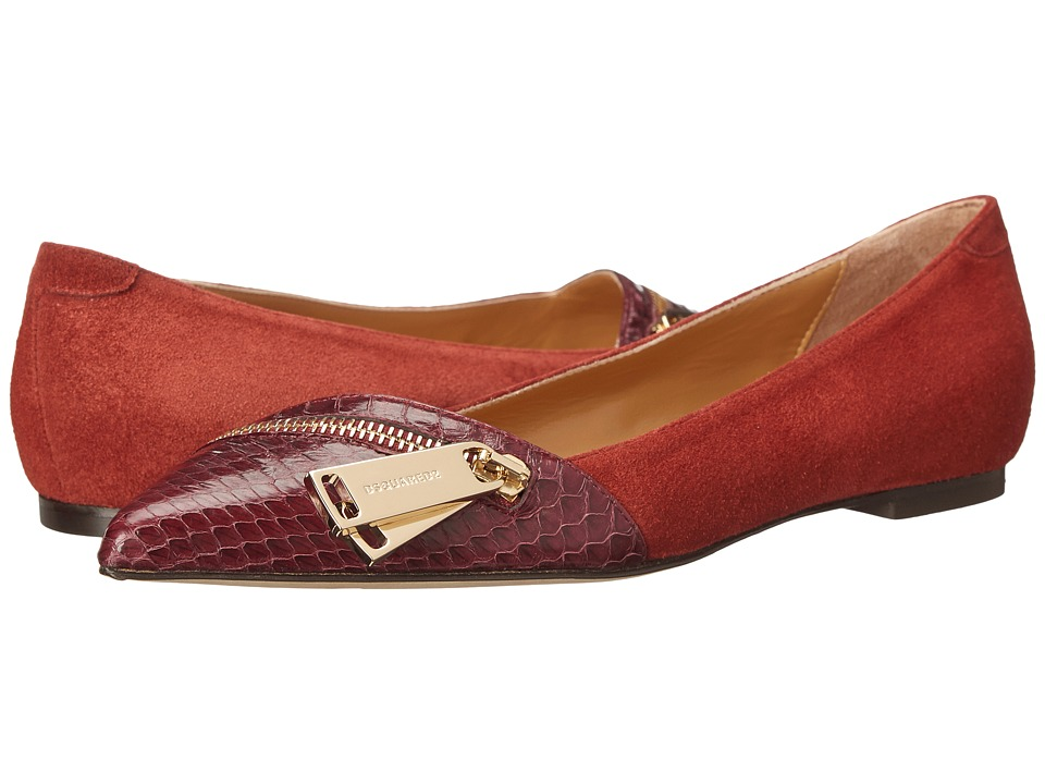 DSQUARED2 Flat Camoscio Ayers Bordeaux Womens Slip on  Shoes