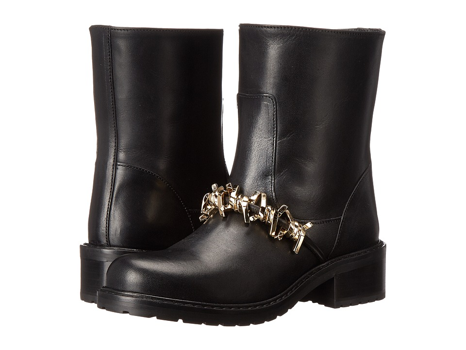 DSQUARED2 - Flat Ankle Boot (Vitello Nero Oro) Women's Boots