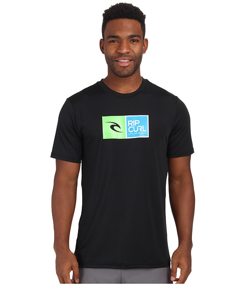 Rip Curl - Ripawatu Short Sleeve Surf Shirt (Black) Men's Swimwear
