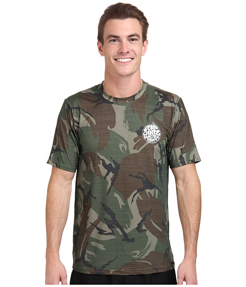 Rip Curl - Wettie Short Sleeve Surf Shirt (Camo) Men's Swimwear