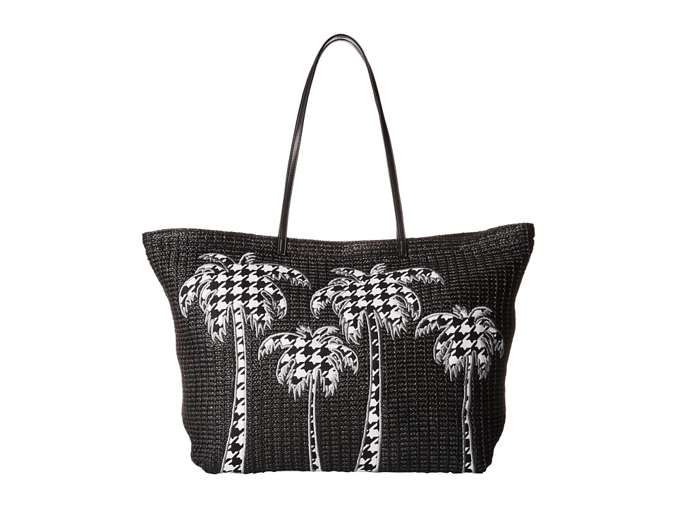 Vera Bradley - Large Straw Tote (Midnight Houndstooth) Tote Handbags