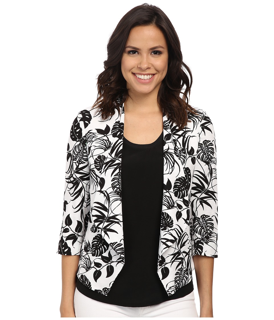 Vince Camuto - Drape Front Stencil Tropical Blazer (Ultra White) Women's Jacket
