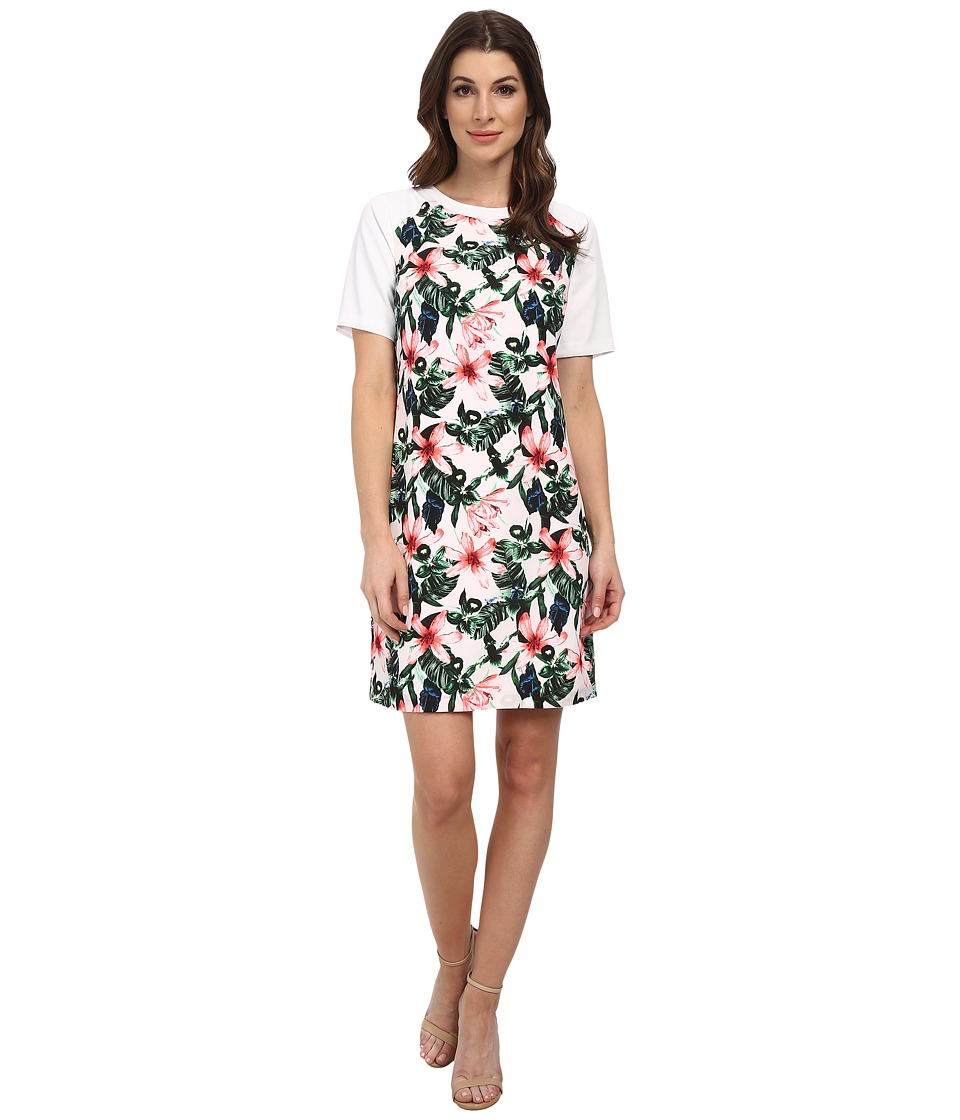 Vince Camuto - Short Sleeve Jungle Lily Shift Dress (Ultra White) Women's Dress