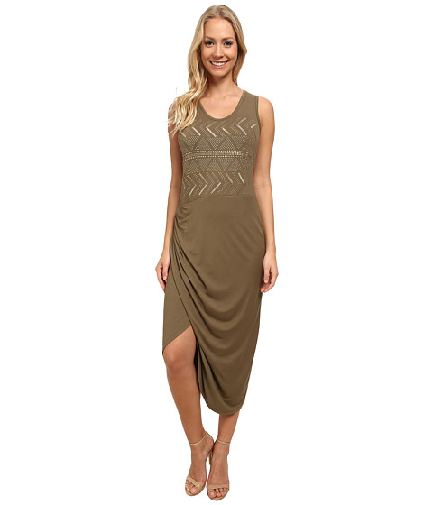 Vince Camuto - Sleeveless Wrap Front Tank Dress w/ Embroidery (Grape Leaf) Women