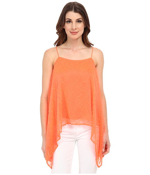 Vince Camuto - Tropic Clip Dot Drape Tank Top (Fiery Coral) Women's Sleeveless