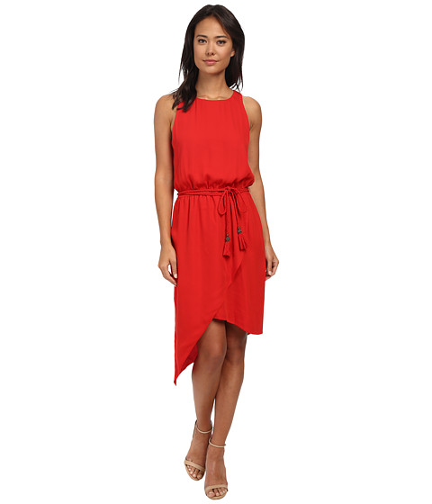 Vince Camuto - Sleeveless Asymetrical Hem Wrap Front Dress (Mars Red) Women