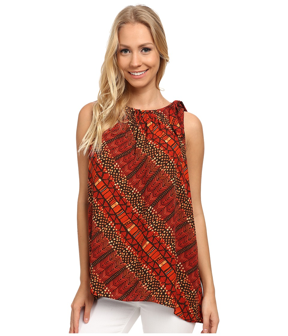 Vince Camuto - Sleeveless Maasai Tribal Blouse w/ Tie Neck (Tigerlily) Women's Blouse