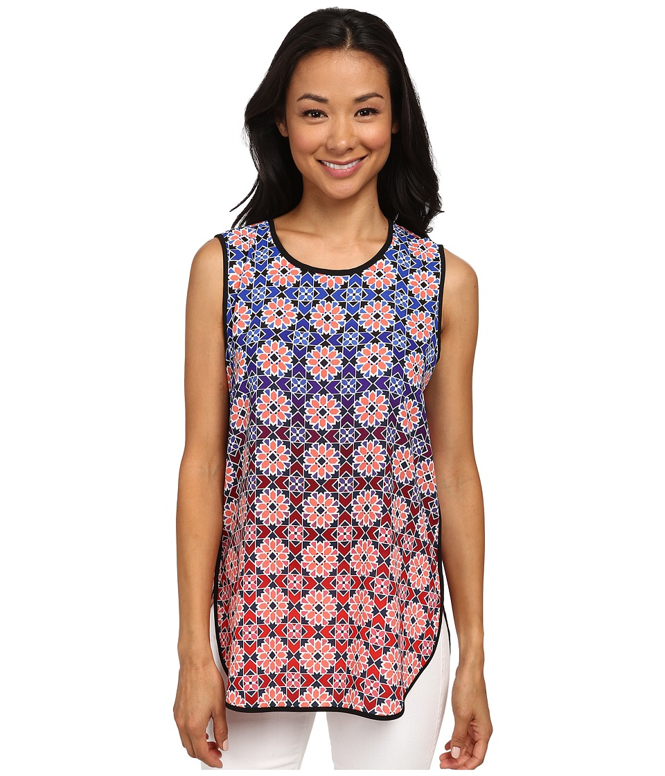 Vince Camuto - Sleeveless Valencia Ombre Tile Shirttail Blouse (Fig) Women's Blouse