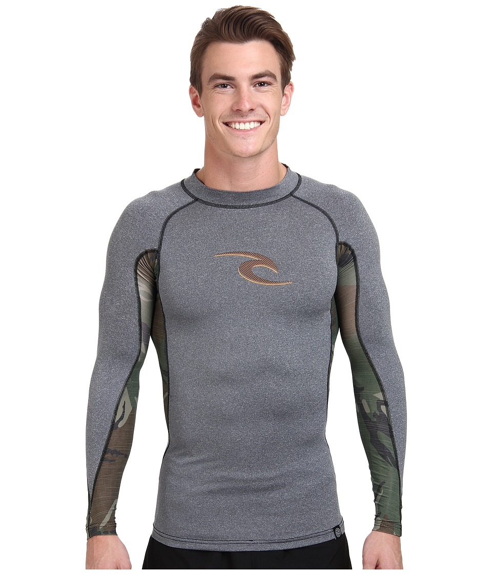 Rip Curl - Wave Long Sleeve Rashguard (Black Heather) Men's Swimwear