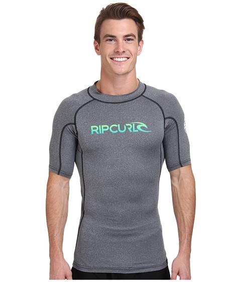 Rip Curl - Corp Short Sleeve Rashguard (Black Heather) Men