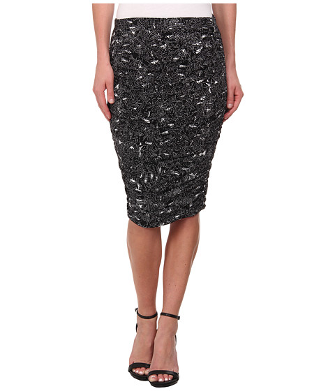 Vince Camuto - Speckle Graphic Ruched Midi Tube Skirt (Rich Black) Women