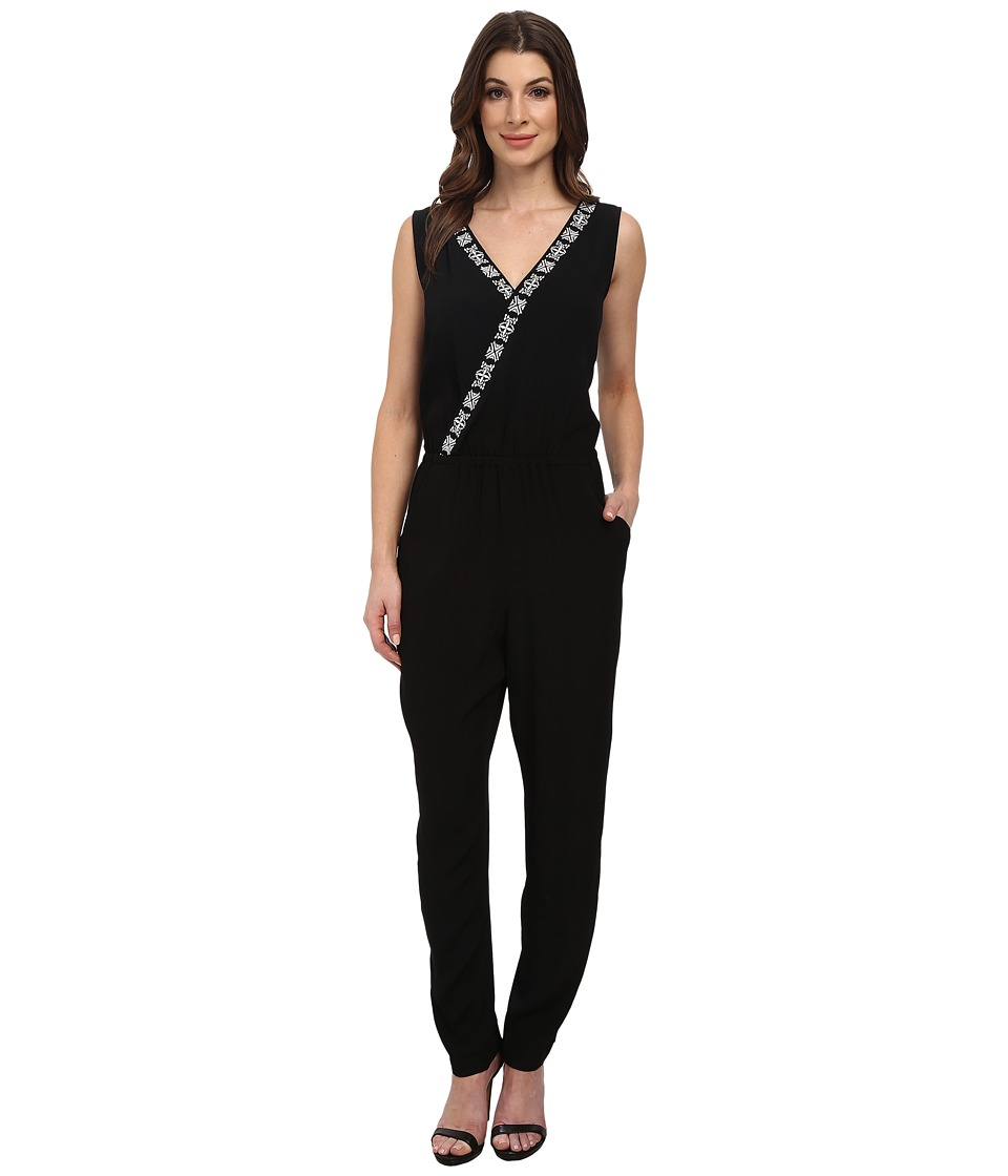Vince Camuto - Sleeveless Jumpsuit w/ Embroidery (Rich Black) Women's Jumpsuit & Rompers One Piece