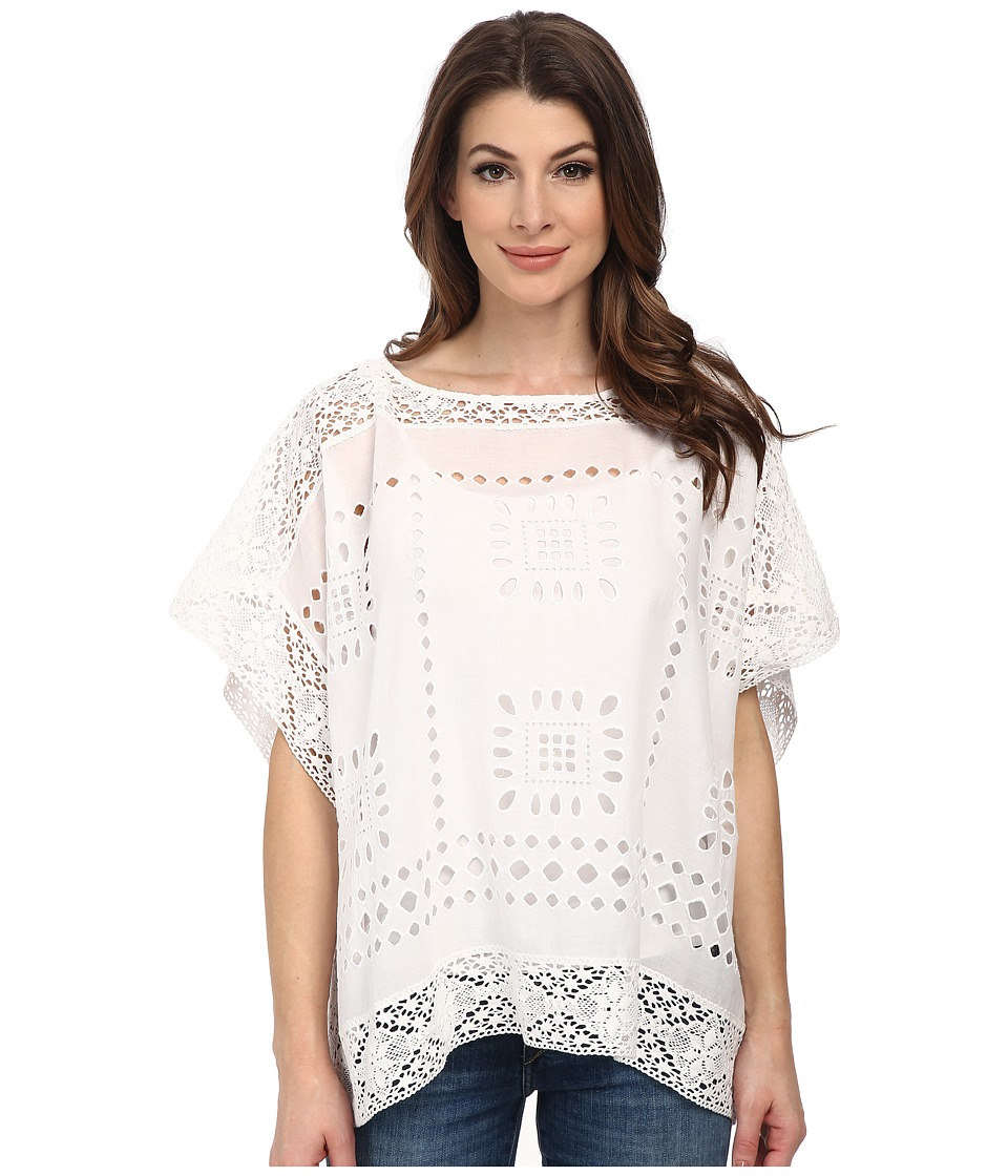 Vince Camuto - Embroidered Eyelet Poncho (Ultra White) Women's Blouse
