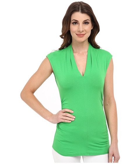 Vince Camuto - Sleeveless Pleat V-Neck Top (Classic Green) Women's Sleeveless