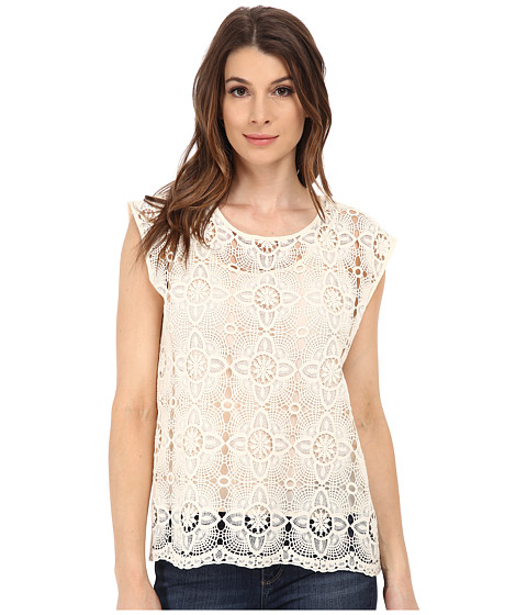 Vince Camuto - Short Sleeve Scalloped Hem Lace Tee w/ Cami (Antique White) Women