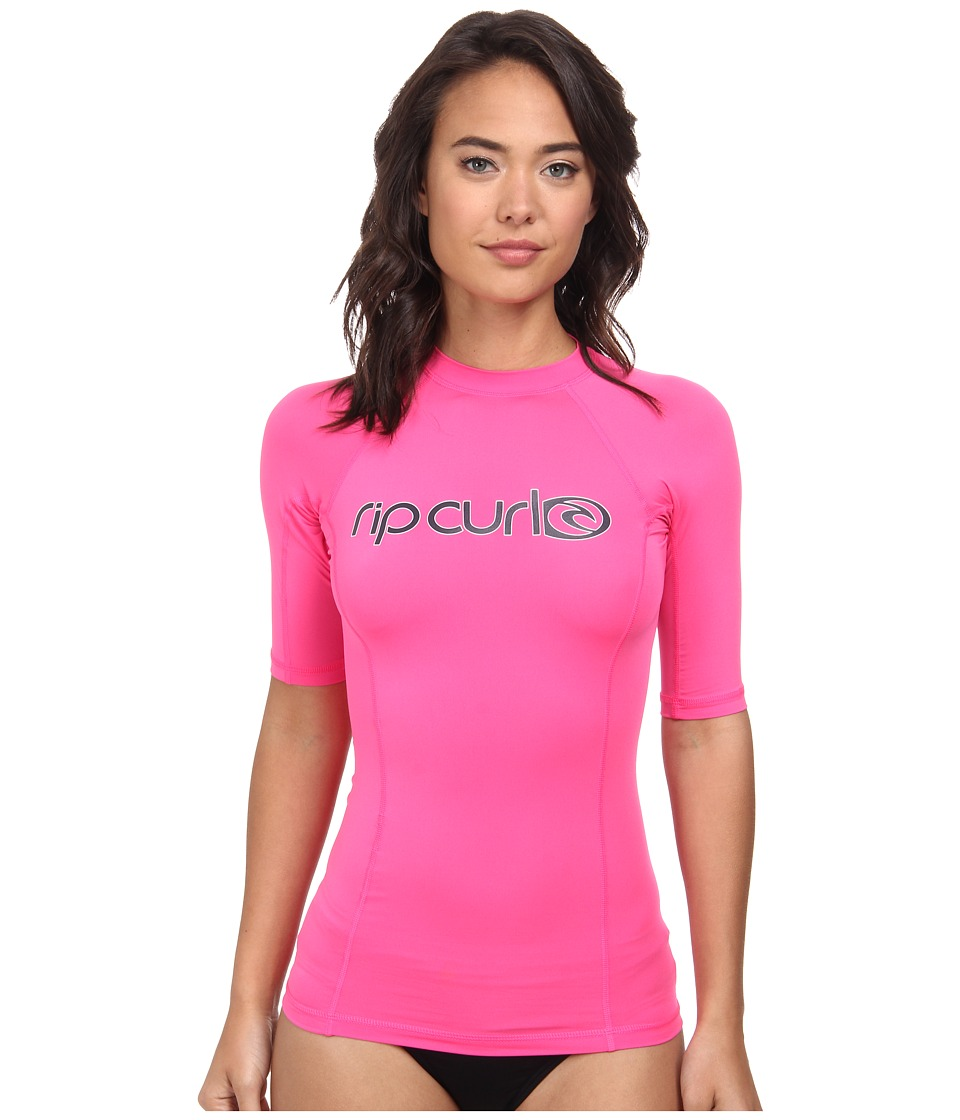 Rip Curl - Surf Team Short Sleeve Rashguard (Bright Pink) Women's Swimwear