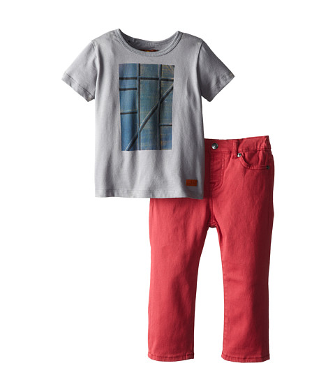 7 For All Mankind Kids - Graphic T-Shirt and Jeans Set (Infant) (Rustic Red) Boy