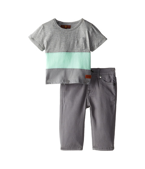 7 For All Mankind Kids - Color Blocked T-Shirt and Jeans Set (Infant) (Grey) Boy's Active Sets