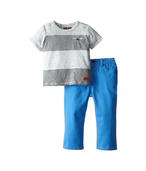 7 For All Mankind Kids - Striped T-Shirt and Jeans Set (Infant) (Bright Blue) Boy