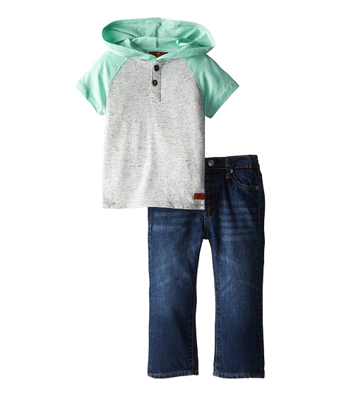 7 For All Mankind Kids - Color Blocked Hoodie and Denim Jeans Set (Infant) (Medium Indigo) Boy