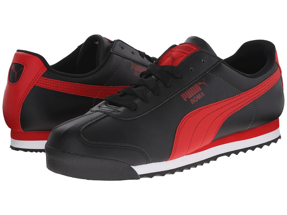 PUMA - Roma Basic (Black/High Risk Red) Men's Shoes